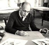 Francisco Bores en el taller de Mourlot, Paris, 1961.