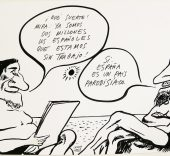 Chumy Chúmez. Viñeta en blanco y negro enviada a Colpisa, 08-03-1992.