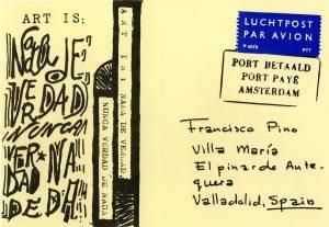 Francisco Pino, Postal (s.d.). De la serie Mail Art. Cortesía de la Fundación Jorge Guillén, Valladolid.