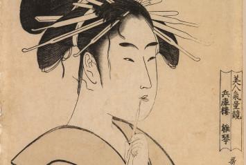 Kitagawa Utamaro, La cortesana Hinakoto de la casa Hyogo (detalle), c. 1795. Estampa ukiyo-e. Museo de Bellas Artes de Bilbao, n.º inv.82/776.
