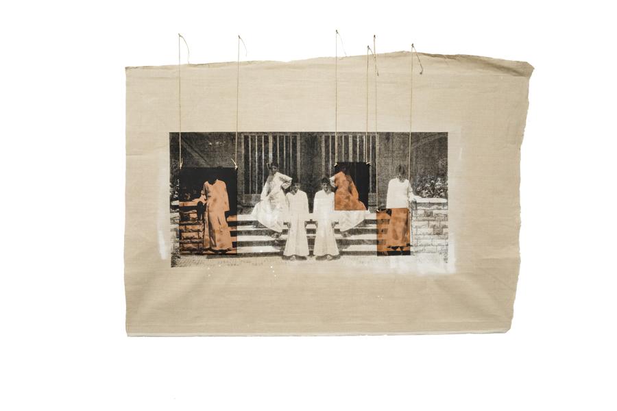 The Boys, 2015. Pintura y serigrafía sobre lienzo y cobre. 140x101 cm. Cortesía de la artista y Sabrina Amrani.