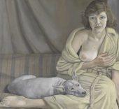Lucian Freud (1922 - 2011). Muchacha con perro blanco, 1950-1951. Óleo sobre tela, 76,2 x 101,6 cm. Tate Gallery, Londres © Tate, London 2016 Lucian Freud (1922 - 2011). Muchacha con perro blanco, 1950-1951. Óleo sobre tela, 76,2 x 101,6 cm. Tate Gallery, Londres © Tate, London 2016 .