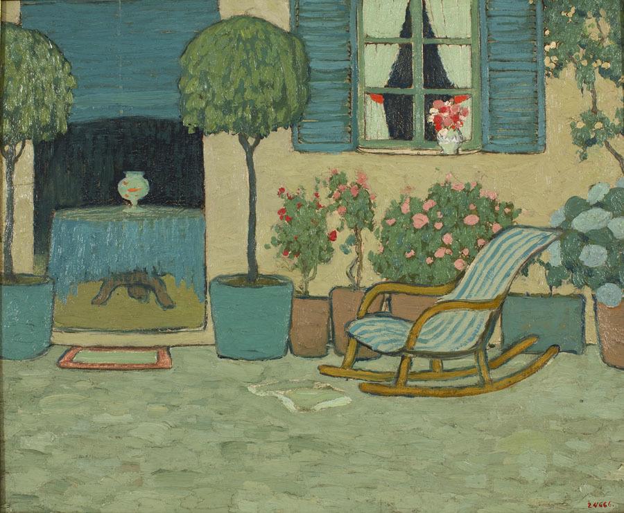 'Patio con mecedora', Pere Torné Esquius, 1910-1925.