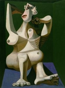 Pablo Picasso. Woman Dressing Her Hair, Royan, June 1940. Oil on canvas. New York, Museum of Modern Art (MoMA). Louis Reinhardt Smith Bequest, 1995. © 2017. Digital image, The Museum of Modern Art, New York/ Scala Florence. © Sucessión Pablo Picasso, VEGAP, Madrid, 2017.