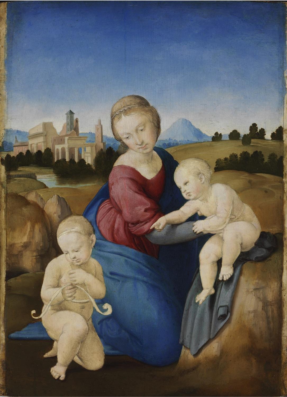 Rafael Sanzio, La Virgen con el Niño y san Juanito (Madonna Esterházy), hacia 1508.