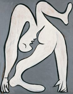 Pablo Picasso. Acróbata, 1930. Óleo sobre madera, 69 x 59 cm. Fundación Almine y Bernard Ruiz-Picasso para el Arte. Préstamo temporal en el Museo Picasso Málaga © Sucesión Pablo Picasso, VEGAP, Madrid, 2016.