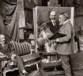 Luis R. Marín.  El pintor retratando al dramaturgo, Jacinto Benavente, 1917.