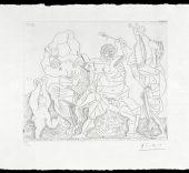 Pablo Picasso. Caja de remordimientos. Bacanal con niño con címbalos, Aguafuerte sobre plancha de cobre. 17 de septiembre de 1955.