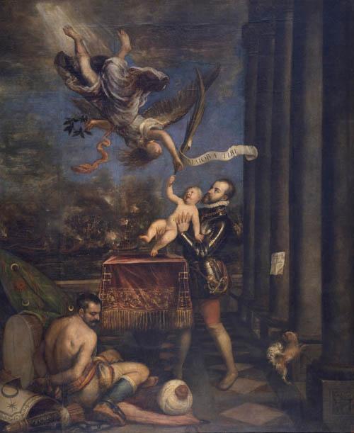 Tiziano. 'Felipe II ofreciendo al cielo al infante don Fernando'. 1573 - 1575. Óleo sobre lienzo, 335 x 274 cm.