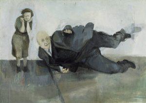 Michael Andrews. Hombre que cae de improviso, 1952. Óleo sobre tabla, 120,6 x 172,7 cm. Tate: adquirido en 1958. © Tate, Londres 2017 © The Estate of Michael Andrews, por cortesía de James Hyman Gallery, Londres.