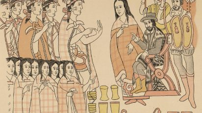 Fragmento del 'Lienzo de Tlaxcala'.