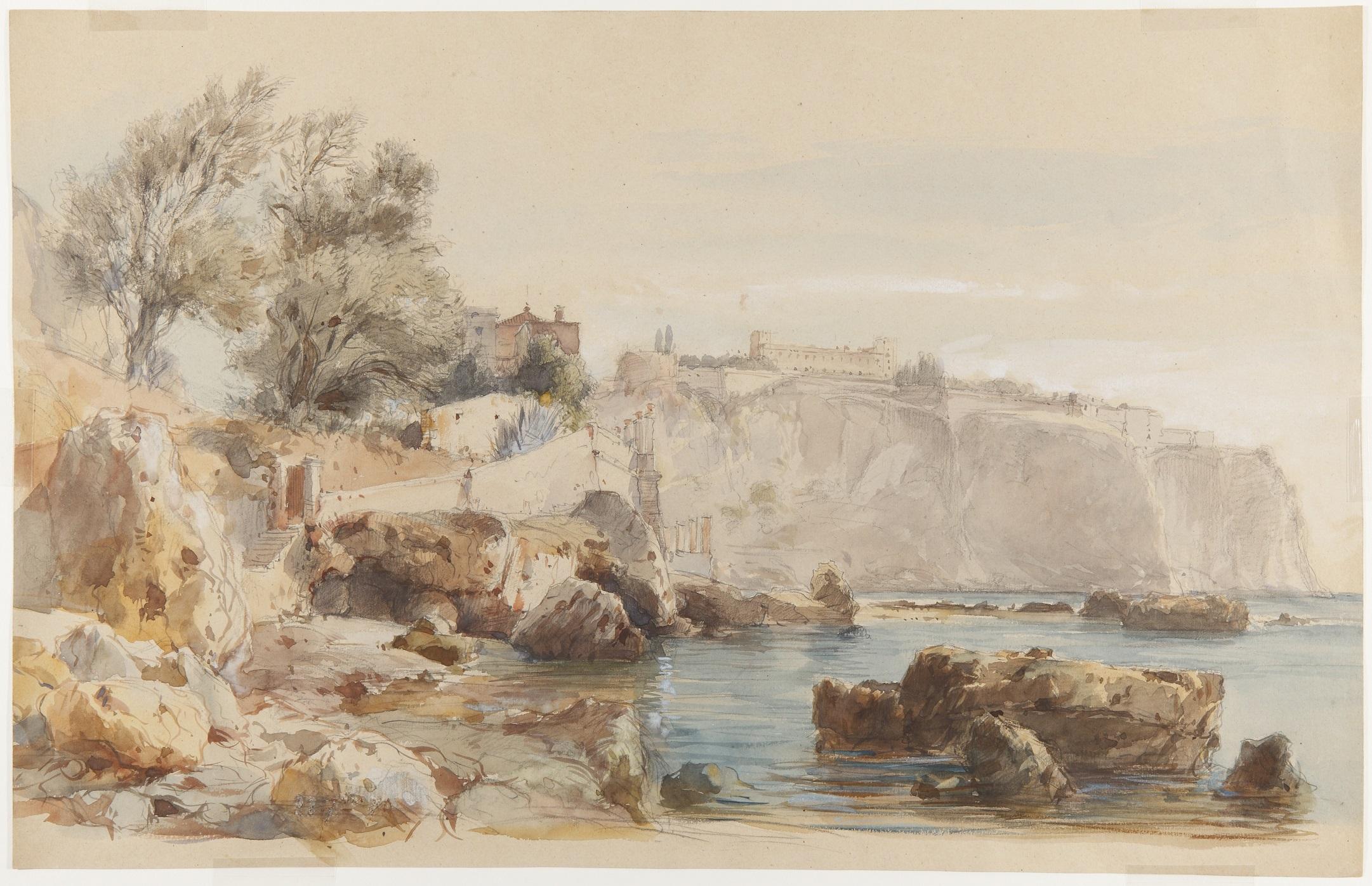 Eugenio Lucas Velázquez. Vista de Mónaco, 1868.