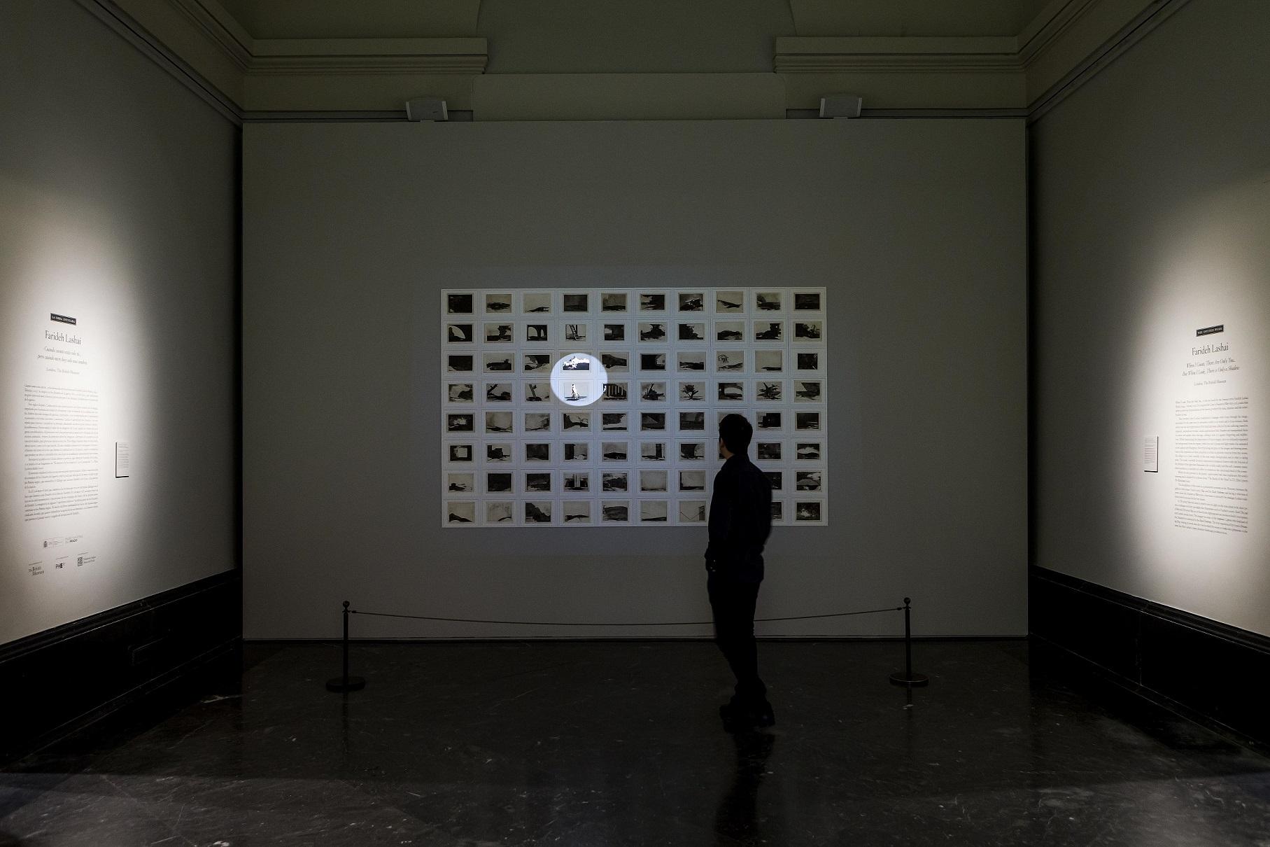 Vista de sala de la instalación de Farideh Lashai. Cuando cuento estás solo tú… pero cuando miro hay solo una sombra, 2013.