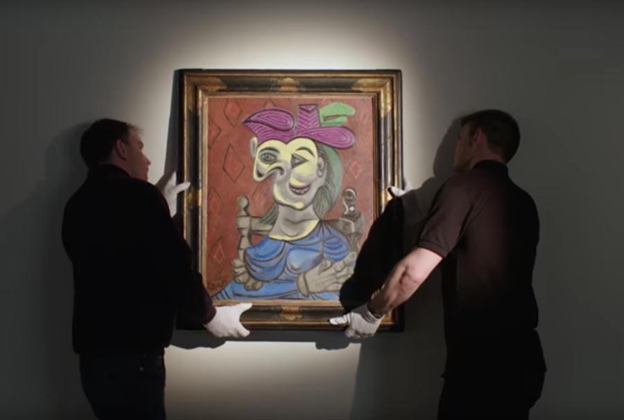 Picasso Femme Assise Robe Bleu