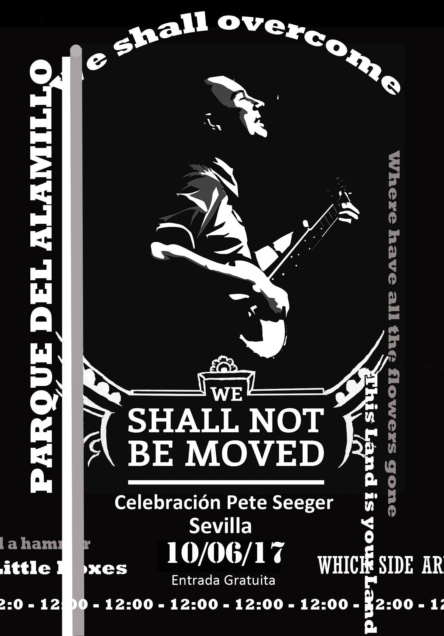 Cartel del concierto homenaje a Pete Seeger en el Parque del Alamillo. Diseño: Jesús Albarrán.