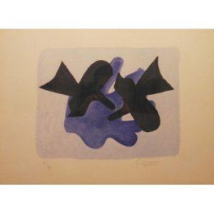 Oiseaux. 1963. Georges Braque. Litografía a color 35/75. Papel 48 x 64,5 cm / plancha 33 x 44 cm.