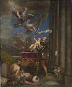 Tiziano. Felipe II ofreciendo al cielo al infante don Fernando, 1573-1575.