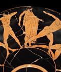Kylix de cerámica ática de figuras rojas . c. 500-490 a. C. Realizada en Atenas. Posiblemente de Vulci, Italia © The Trustees of the British Museum.