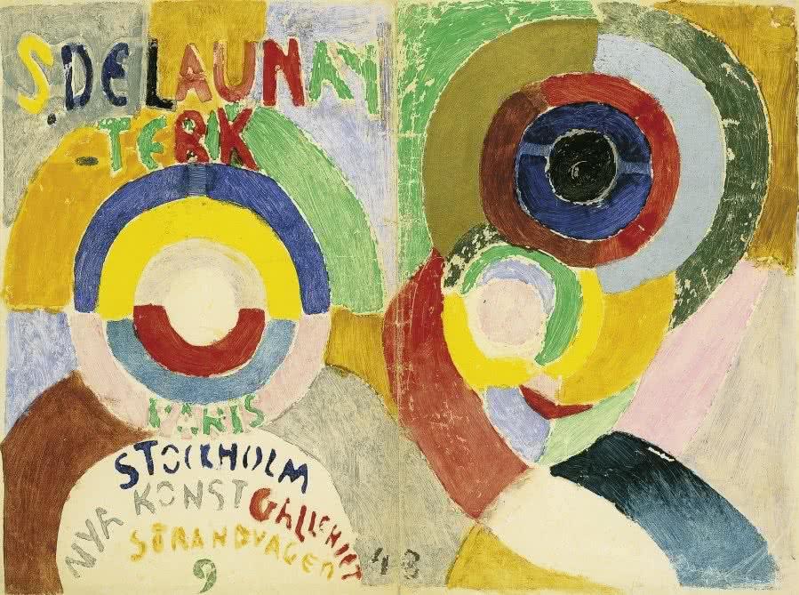 Sonia Delaunay, Diseño para la cubierta del catálogo de la exposición de 1916 en Estocolmo. Autorretrato, 1916. Colección privada.