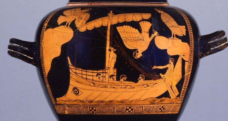 Crátera de figuras rojas. La Odisea. Odiseo y las siernas. Siglo V a. C. (detalle).