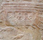 Barco fenicio representado en los relieves del Palacio de Sargón II en Khorsabad, Irak. Hacia el siglo VIII a. C.