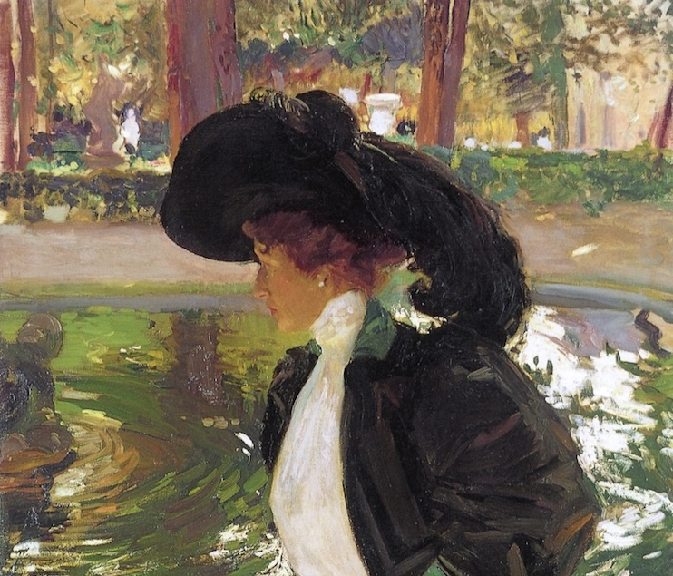 Joaquín Sorolla. Clotilde paseando en los Jardines de la Granja, 1907 (detalle). Museo Bellas Artes de La Habana.