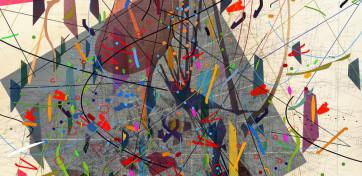 Julie Mehretu, Zero Canyon (a dissimulation), 2006. Cortesía de la artista y Marian Goodman Gallery, Nueva York. © Julie Mehretu.