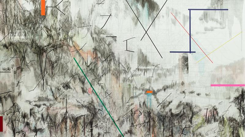 Julie Mehretu, <em>Co-Evolution of the Futurhyth Machine (after Kodwo Eshun)</em>, 2013. Cortesía de la artista y Marian Goodman Gallery, Nueva York. © Julie Mehretu.
