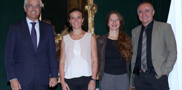 Ignacio García-Belenguer (director general del Teatro Real), Laura Furones (directora de Publicaciones), Rita Cosentino (coordinadora artística del Departamento Pedagógico) y Joan Matabosch (director artístico). @ Javier del Real / Teatro Real.