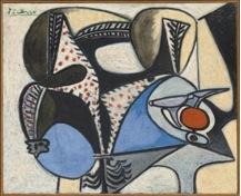 """Pablo Picasso, Le coq saigné (""""El gallo desangrado"""") (1947-8) óleo sobre contrachapado, 81 x 99,9 cm."""