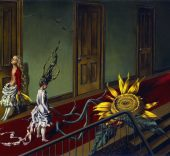 Dorothea Tanning (1910-2012). Pequeña serenata nocturna (Eine Kleine Nachtmusik), 1943. Óleo sobre lienzo, 407 x 610 mm. © Tate, London 2015 © The Estate of Dorothea Tanning / ADAGP, Paris / VEGAP, Málaga, 2016.