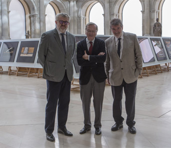 Miguel Falomir, director del Museo del Prado; Rafael Moneo, arquitecto y Patrono del Real Patronato del Museo del Prado; y Joaquín Bérchez, fotógrafo. Foto © Museo Nacional del Prado.