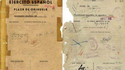 Proceso sumarísimo firmado por el Juzgado Militar de Orihuela y procedimiento firmado en Madrid. AHPA.