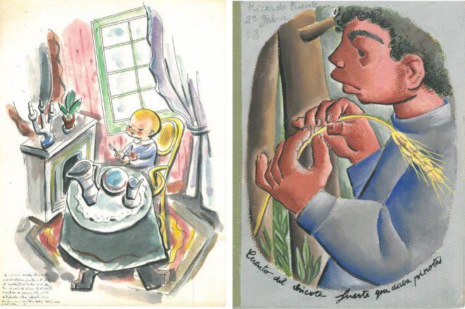 Un dibujo y un cuento para Ricardito Fuerte Caamaño realizados en prisión. AHPA.