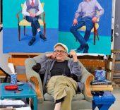 David Hockney en su estudio, Los Angeles, 1 de marzo de 2016. © David Hockney. Crédito de la foto: Jean-Pierre Goncalves de Lima.