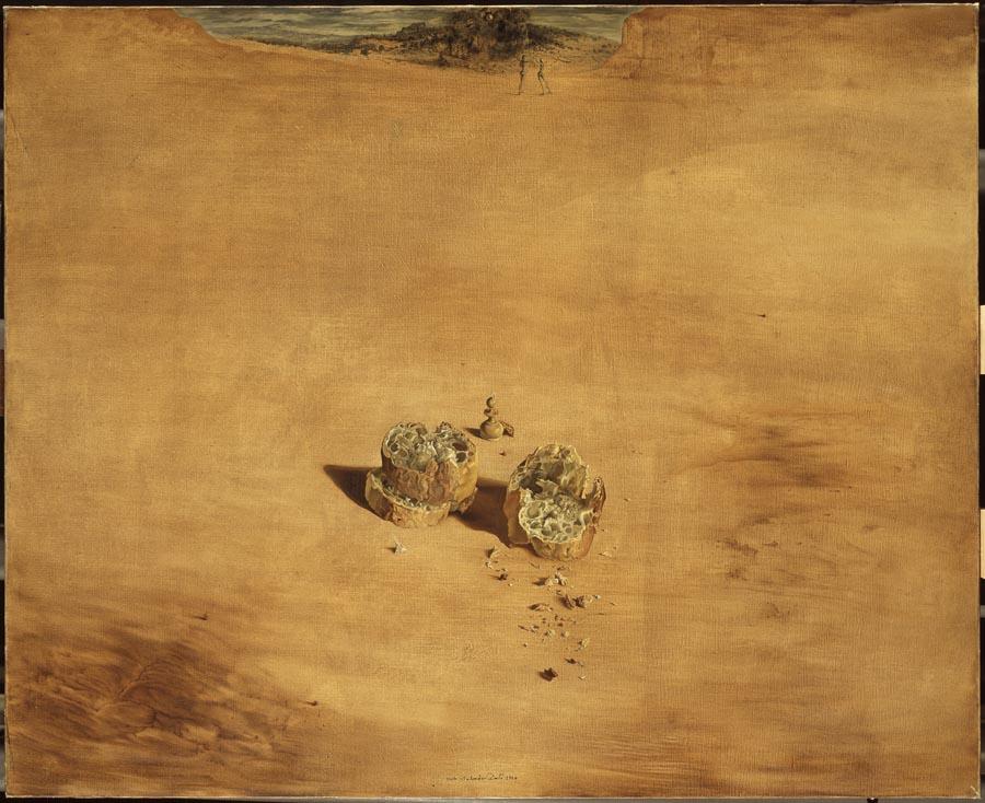 'Dos trozos de pan expresando el sentimiento del amor' (1940) hace referencia al juego de ajedrez que tanto gustaba a Duchamp. © Salvador Dalí, Fundació Gala-Salvador Dalí/VEGAP, Figueres, 2017.