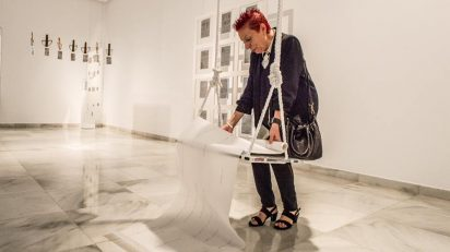 """Presentación de la exposición retrospectiva """"Concha Jerez. Interferencias"""". Centro Atlántico de Arte Moderno, CAAM. Las Palmas de Gran Canaria, 4 de octubre de 2017."""