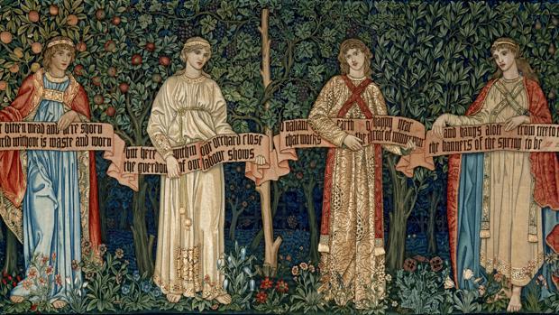 Tapiz «Los frutales» (o Las estaciones), de William Morris y John Dearle - VICTORIA & ALBERT MUSEUM, LONDRES.