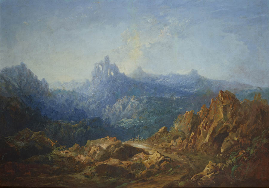 Paisaje romántico. Eugenio Lucas Velázquez (1817-1870). Óleo sobre lienzo (120 x 168,5 cm). 1852 Madrid, Museo Nacional del Prado. Donación de Óscar Alzaga.