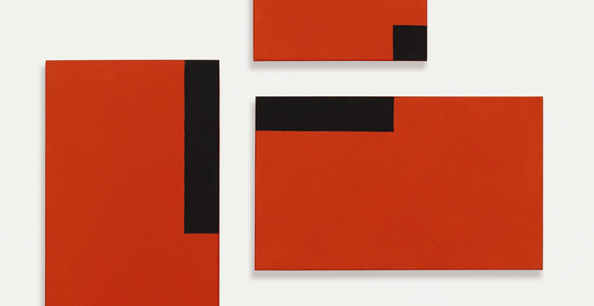 César Paternosto. Red Trio #6, 2015. 3 paneles: óleo sobre lienzo. Colección del artista, Segovia.