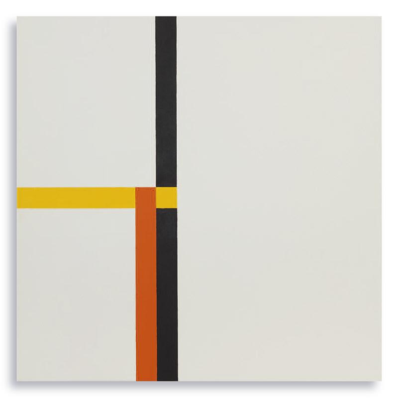 Tensiones Lineales / Espacios Asimétricos 8, 2017, Óleo sobre lienzo, 50 x 50 cms | César Paternosto.
