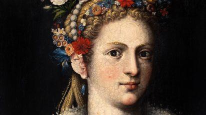 Giuseppe Arcimboldo. Flora meretrix, c. 1590. Óleo sobre tabla, 80,5 x 61 cm. Colección particular. Cortesía de Banca March.