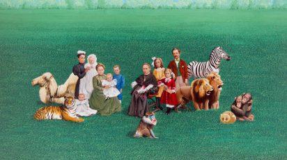 ISABEL VILLAR. Familia del obispo. 1974. Acrílico sobre tabla. 120 x 181 cm.