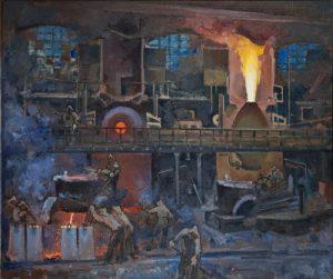 Fabricación de acero, 1930. Alexander Kuprin.