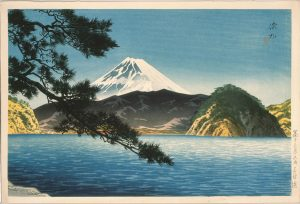 ItōShinsui. Mount Fuji as seen from Mitohama beach, 1938. © Taiyo no Hikari Foundation, Japan, 2018.