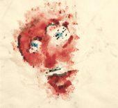 Henri Michaux. Sin título, 1981. Acuarela sobre papel. 367 x 270 mm. Colección particular. © Archives Henri Michaux, VEGAP, Bilbao, 2018. © FMGB Guggenheim Bilbao Museoa. Foto: Erika Barahona Ede.