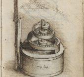 Leonardo da Vinci, Mecanismos reguladores de la velocidad de rotación de un reloj. BNE, Codex Madrid I.