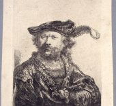 Rembrandt van Rijn Autorretrato.1638 Aguafuerte y punta seca. Impresa por Pierre François Basan. Inv. 10737. © Museo Lázaro Galdiano.