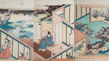 Utagawa Kunisada (Toyokuni III). Tríptico inspirado en la novela Genji Monogatari [La historia de Genji] de Murasaki Shikibu, 1830. Colección Bujalance.