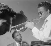 Gottlieb, William P., 1917-, photographer. [Portrait of Howard McGhee and Miles Davis, New York, N.Y., ca. Sept. 1947].